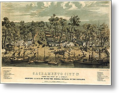 Sacramento California 1850 Metal Print by Donna Leach