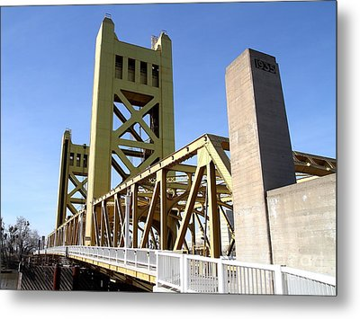 Sacramento California Tower Bridge Crossing The Sacramento Delta River . 7d11553 Metal Print by Wingsdomain Art and Photography