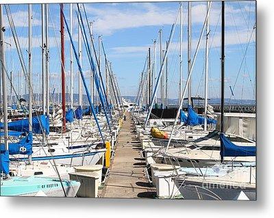 Sail Boats At San Francisco China Basin Pier 42 . 7d7692 Metal Print by Wingsdomain Art and Photography