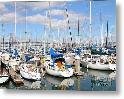Sail Boats At San Francisco China Basin Pier 42 With The Bay Bridge In The Background . 7d7666 Metal Print by Wingsdomain Art and Photography