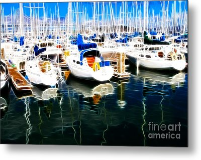 Sail Boats At San Francisco's Pier 42 . Electrified Metal Print by Wingsdomain Art and Photography