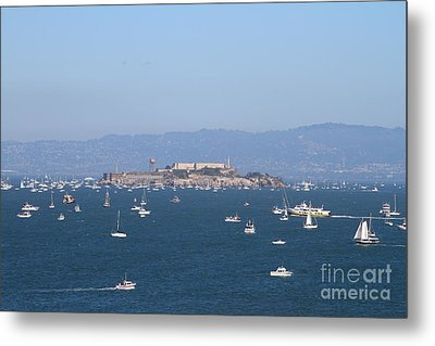Sailboats In The San Francisco Bay Overlooking Alcatraz . 7d7862 Metal Print by Wingsdomain Art and Photography