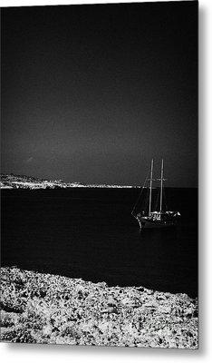 Sailing Boat Moored In A Quiet Bay Near Cape Gkreko Greco Republic Of Cyprus Metal Print by Joe Fox