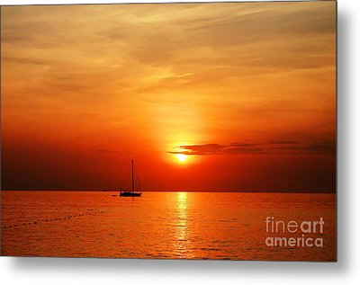 Sailing Boat Sunset At Kata Beach Phuket  Metal Print by Anusorn Phuengprasert nachol