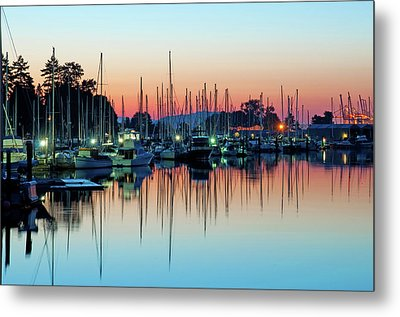 Sailing Boats In Coal Harbour Metal Print by Dean Bouchard (Being There Photography)