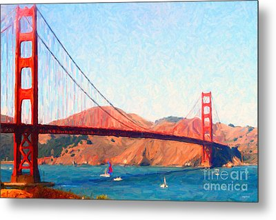 Sailing Under The Golden Gate Bridge Metal Print by Wingsdomain Art and Photography
