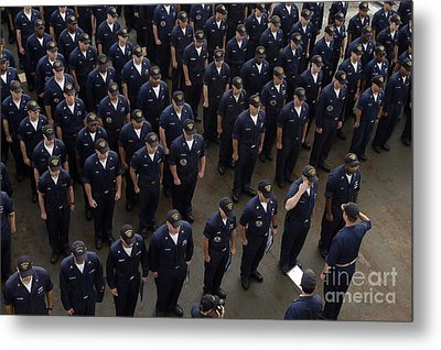 Sailors Stand At Attention During An Metal Print by Stocktrek Images