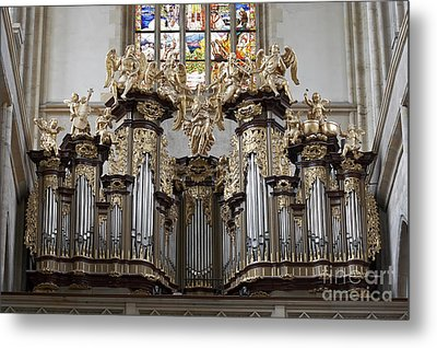 Saint Barbara Church - Organ Loft And Stained Glass In The Churc Metal Print by Michal Boubin