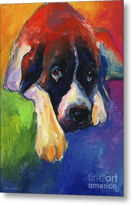 Saint Bernard Dog Colorful Portrait Painting Print Metal Print by Svetlana Novikova