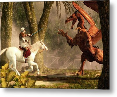 Saint George And The Dragon Metal Print by Daniel Eskridge