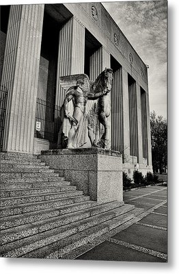 Saint Louis Soldiers Memorial Exterior Black And White Metal Print by Joshua House