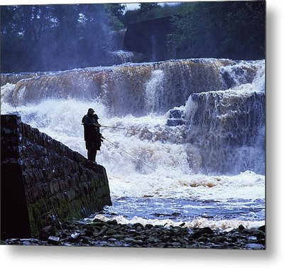 Salmon Fishing, Ballisodare River, Co Metal Print by The Irish Image Collection