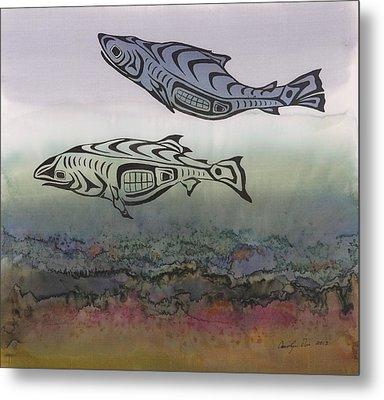 Salmon Stream Metal Print by Carolyn Doe