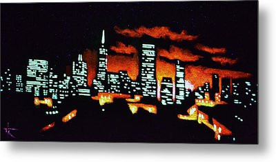 San Francisco Black Light Metal Print by Thomas Kolendra