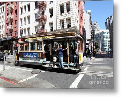 San Francisco Cable Car On Powell Street - 5d17957 Metal Print by Wingsdomain Art and Photography
