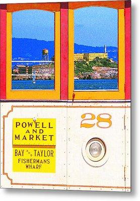 San Francisco Cablecar 28 . Alcatraz Metal Print by Wingsdomain Art and Photography