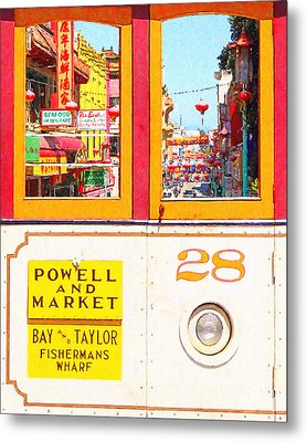 San Francisco Cablecar 28 . Chinatown Metal Print by Wingsdomain Art and Photography