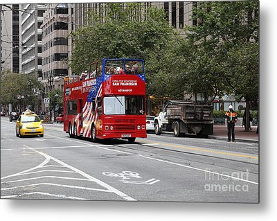 San Francisco Double Decker Tour Bus On Market Street - 5d17851 Metal Print by Wingsdomain Art and Photography