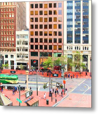 San Francisco Market Street - 5d17877 - Square - Painterly Metal Print by Wingsdomain Art and Photography