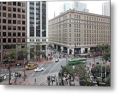 San Francisco Market Street - 5d17883 Metal Print by Wingsdomain Art and Photography