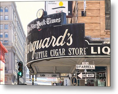 San Francisco Marquard's Little Cigar Store On Powell And O'farrell Streets - 5d17954 - Painterly Metal Print by Wingsdomain Art and Photography