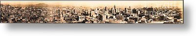 San Francisco Skyline Panorama 1909 From The Ferry Building Through South Of Market Metal Print by Wingsdomain Art and Photography