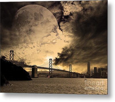 San Francisco Under The Moon Metal Print by Wingsdomain Art and Photography