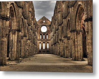 San Galgano  - A Ruin Of An Old Monastery With No Roof Metal Print by Joana Kruse