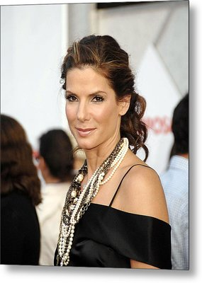 Sandra Bullock Wearing Lanvin Necklaces Metal Print by Everett
