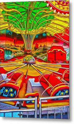 Santa Cruz Boardwalk - That Ride That Makes You Sick Metal Print by Gregory Dyer