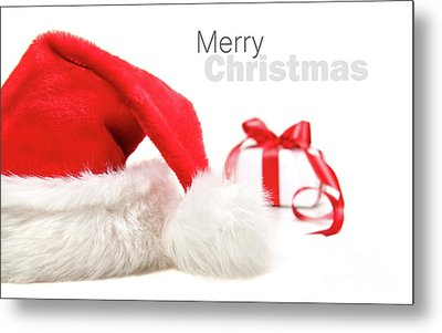 Santa Hat And Gift With Red Bow Metal Print by Sandra Cunningham