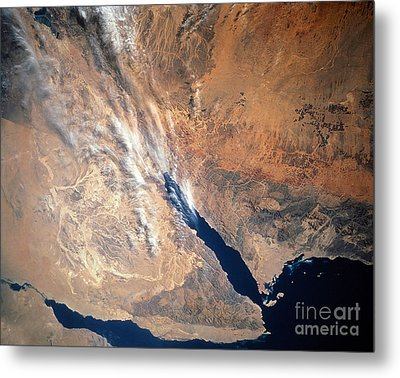 Satellite Image Of Land Metal Print by Stocktrek Images