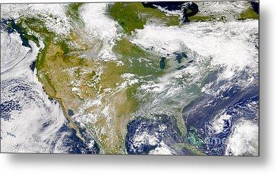 Satellite View Of North America Metal Print by Stocktrek Images