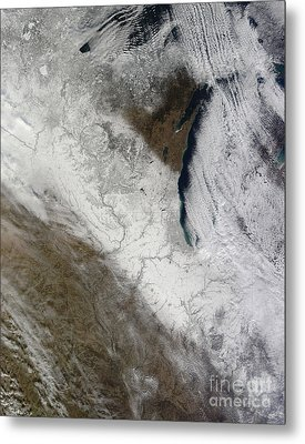Satellite View Of Snow And Cold Metal Print by Stocktrek Images