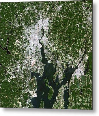 Satellite View Of The Pawtucket Metal Print by Stocktrek Images