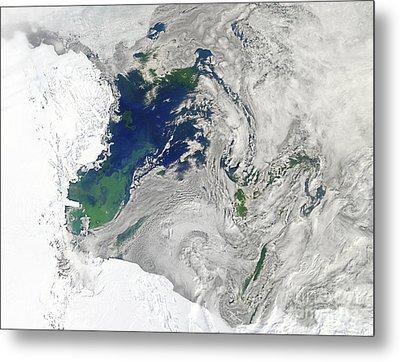 Satellite View Of The Ross Sea Metal Print by Stocktrek Images