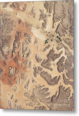 Satellite View Of Wadi Rum Metal Print by Stocktrek Images