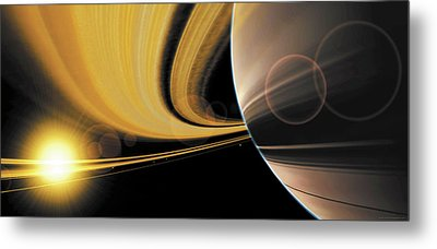 Saturn Glory Metal Print by Don Dixon