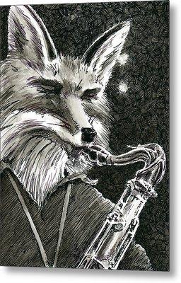 Sax Fox Metal Print by Scott Alberts