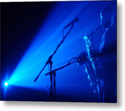 Sax In Blue Metal Print by Anthony Citro