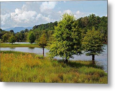Scenic Lake With Mountains Metal Print by Susan Leggett