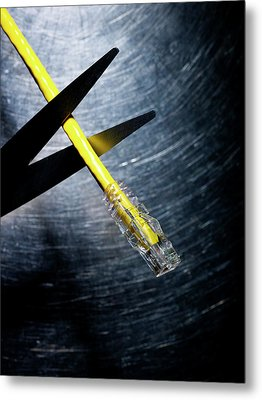 Scissors Cutting Ethernet Connection Cable. Metal Print by Ballyscanlon