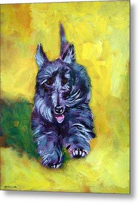 Scottie Trot  - Scottish Terrier Metal Print by Lyn Cook