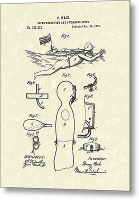 Scuba Suit 1876 Patent Art Metal Print by Prior Art Design