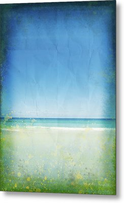 Sea And Sky On Old Paper Metal Print by Setsiri Silapasuwanchai