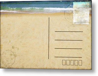 Sea Beach On Postcard  Metal Print by Setsiri Silapasuwanchai
