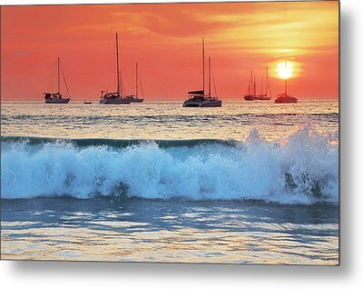 Sea Waves At Sunset Metal Print by Teerapat Pattanasoponpong