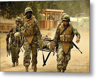 Seabees Conduct A Mass Casualty Drill Metal Print by Stocktrek Images