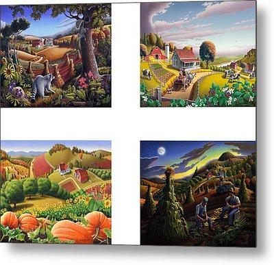 seasonal farm country folk art-set of 4 farms prints amricana American Americana print series Metal Print by Walt Curlee