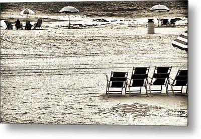 Seats On The Beach Metal Print by John Rizzuto